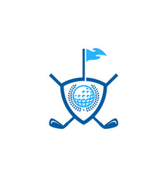 shield golf logo icon design vector image