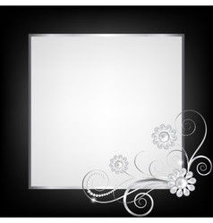 Silver jewelry floral frame vector