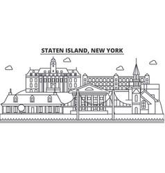 Staten island new york architecture line skyline vector