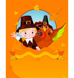 thanksgiving pilgrim and turkey vector image