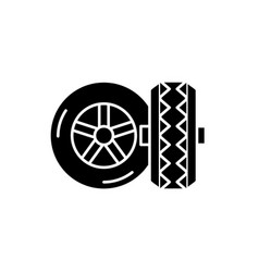 tires black icon sign on isolated vector image