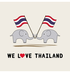 Two elephants hold Thai flag1 vector