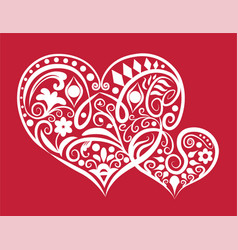 Two hearts ornament vector
