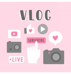 Vlog icons vector