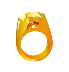 Wasp in amber vector