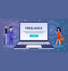 Webpage offering freelance job for men and women vector