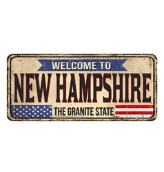 Welcome to new hampshire vintage rusty metal sign vector