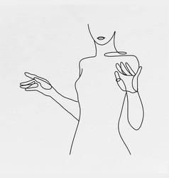 Womanrsquos body line art feminine drawing vector