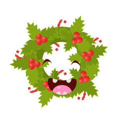 wreath cheerful christmas card vector image