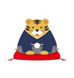 Year tiger mascot dressed in kimono vector