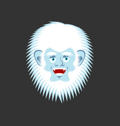 yeti cheerful emoji bigfoot happy face abominable vector image