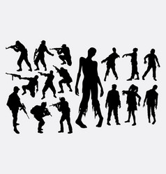 Zombie hunter silhouette vector