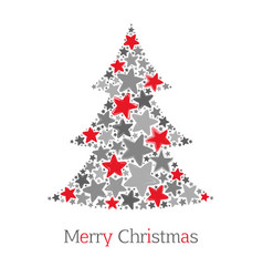 abstract christmas tree made of red and grey stars vector image
