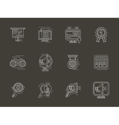 Analytic search information white line icon vector image