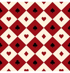 Card suits red cream diamond background vector