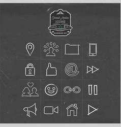 social media handmade icon doodle set vector image