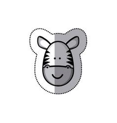 Sticker colorful picture face cute zebra animal vector