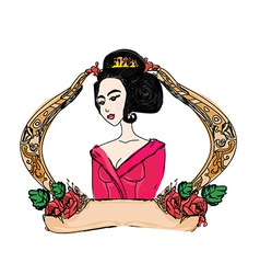 stylized of a beautiful geisha girl vector image