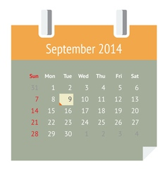 Calendar page for September 2014 vector image