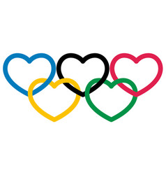 five multicolored heart shape symbol olympiad vector image vector image