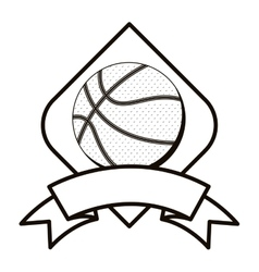 gray scale basketball tournament emblem with ball vector image vector image
