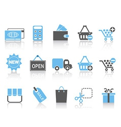 shopping icons set blue series vector image vector image