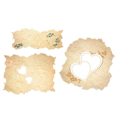 Vintage paper pieces with heart vector image vector image