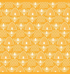 background pattern with bees and hives vector image vector image