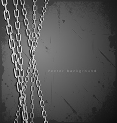 Chain stainless steel on grunge background vector image vector image
