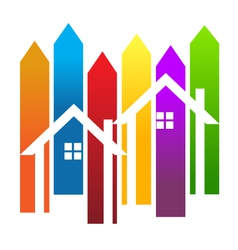 Color stripes and houses vector image