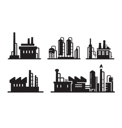flat factory icons vector image