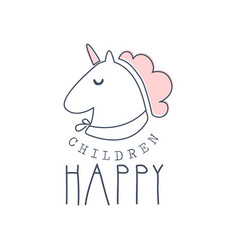 happy children logo colorful hand drawn vector image vector image