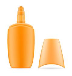 sun cream lotion sunblock suntan in a plastic vector image
