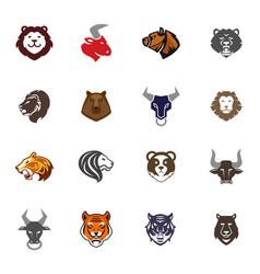 wild animals head logo badges labels design face vector image