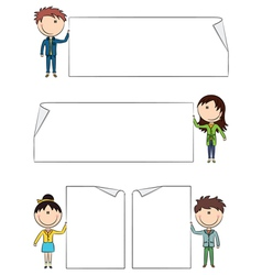 Cheerful kids holding empty blank banners vector image vector image