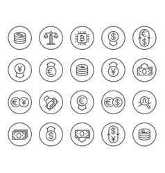 currency finance forex trading line icons vector image