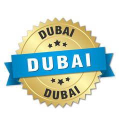 Dubai round golden badge with blue ribbon vector
