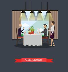 gentlemen in restaurant concept vector image