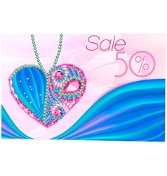 Sale sign with heart made of gems. vector image
