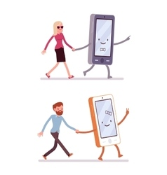 Set of man and woman walking with smartphone vector image vector image