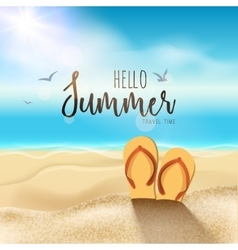 Summer beach travel design Sun with sand and vector image