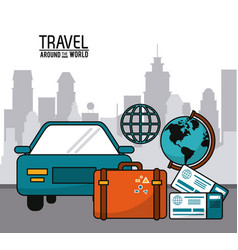 Travel around the world with car globe suitcase vector