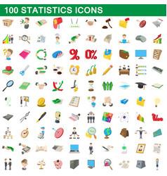 100 statistics icons set cartoon style vector