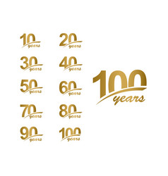 100 years anniversary elegant gold line set vector