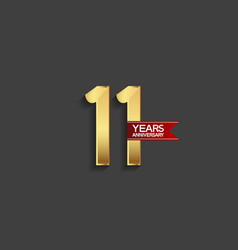 11 years anniversary simple design with golden vector