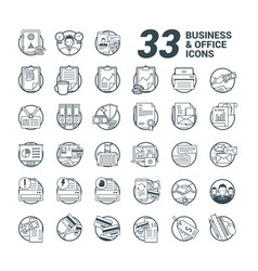 33 business and office line style icons vector image