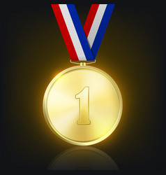 3d realistic shiny golden win medal vector image