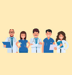 a team doctors on yellow background vector image