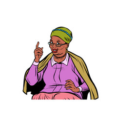 African elderly woman pointing finger up isolate vector
