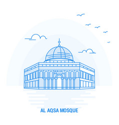 Al aqsa mosque blue landmark creative background vector